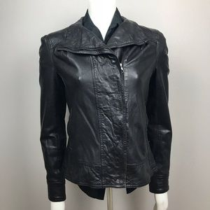 Ted Baker Black Leather Jacket Size 3 or M